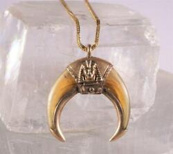 Vintage Egyptian Revival Masonic Double Claw Necklace Yellow Gold 18