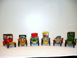 Vintage 60s Lot Of 6 Tin-lith Lever-action Friction Toy Cars