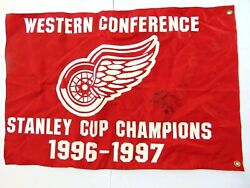 Rare 1996-1997 Stanley Cup Champions Detroit Red Wings Signed Pennant Flag