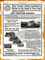 1914 Minneapolis Steel And Machinery Co. New Metal Sign Twin City And Bull Tractors