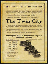 1914 Minneapolis Steel And Machinery Co. New Metal Sign Twin City Tractors