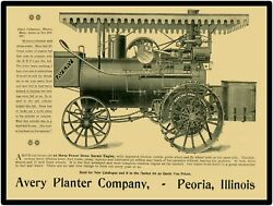Vtg. Look 1898 Avery Planter Conew Metal Sign 22 Hp Straw Burner Engine