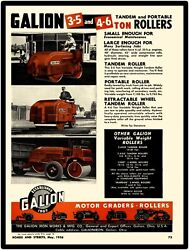 1956 Galion Iron Works New Metal Sign 3 Axle Tandam Road Roller Pictured Ohio