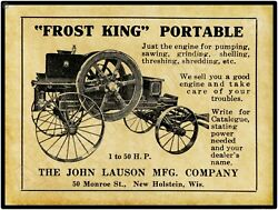 1911 John Lauson Frost King Gas Engines New Metal Sign New Holstein Wisconsin