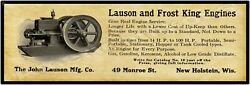 1916 Lauson Frost King Gas Engines New Metal Sign 6 X 18 - New Holstein Wi