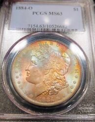 1884-o Pcgs Ms63 Eor End Roll Full Obverse Rainbow Toned Color Morgan Luster