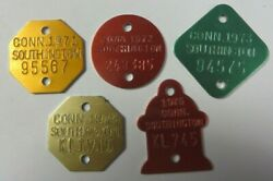 Vtg 1970and039s Lot Dog Tag License Tax Registration Southington Connecticut Tokens