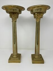 Pair Of Vintage Neo-classical Maitland Smith Bronze Candle Holders Solid Heavy