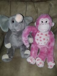Build A Bear Pair - Pink Hearts Monkey And Grey Elephant With Sound