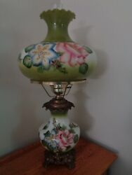 Antique Hurricane Table Lamps Rare Handpainted X-tra Large Great Gifts Gwtw