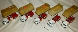 Vintage Model Power Die Cast Red Fire Engine 5x Lot 7969mp - 148 O Scale