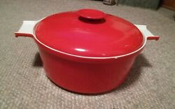 Vintage Large Copco Michael Lax 154 Red Baking Pot And Lid Denmark