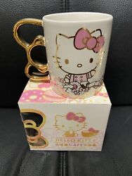 NEW Hello Kitty Grand Cafe Exclusive Metallic Gold Bow Handle Mug Cup
