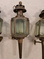 Set Of 7 Antique Victorian Copper Carriage Wall Lantern Lamps With Etched Glass
