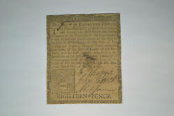 Colonial Note Pennsylvania Eighteen Pence- March 10 1769. Fine.