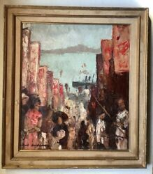 French Oil Impressionism Painting Cityscape Hong Kong Animated Street Harbor