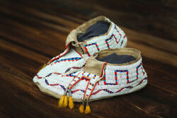 Fully Beaded Antique Sioux Moccasins, Circa 1900´, Sinew Sewn