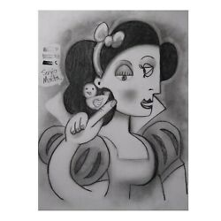 Snow White By Sergio Mata Drawing Charcoal Sketch Abstract Pop Art Walt Disney