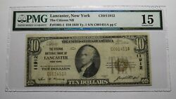 10 1929 Lancaster New York Ny National Currency Bank Note Bill Ch. 11912 F15