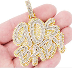 2.48ct Round And Baguette Cut Diamond 90s Baby Custom Pendant 14k Yellow Gold Over