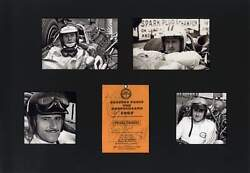 Formula One Champions Autographs Signed Press Ticket 1967 Mounted