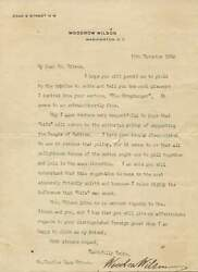 28th Us President Woodrow Wilson Autograph, Typed Letter Signed