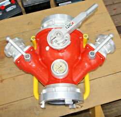 Pok 3-way Fire Hose Manifold - 3 Ss Ball Valves - Storz 6 X2 And 3 X2 And Gage