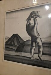 Antique Rockwell Kent Lithograph Eskimo Mother And Child Signed In Pencil 1937