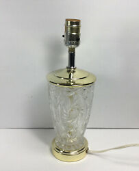 Vintage Cut Glass Crystal Nightstand Table Lamp Mid Century 13in