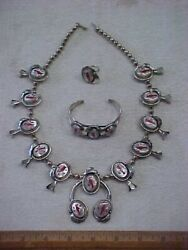 Navajo Paul Chee Inlay Redbird S. Silver Squash Blossom Necklace Bracelet And Ring