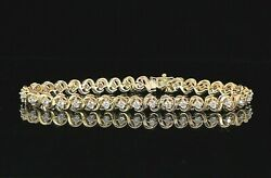 5500 Sx 14k Yellow Gold 1.50ct Round Diamond 7and039and039 Tennis Safety Chain Bracelet