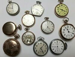 Antique Pocket Watch Lot Of 11 Watches Total 10k And 14k Gold Filled Cases All Run