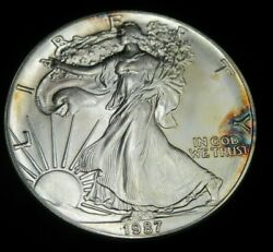1987 Silver Eagle Dollar Perfect Uncirculated Toned Lot1239