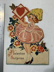 Large Vintage Valentine Card-girl In Pretty Dress-1930andrsquos-butterfly And Flowers