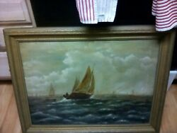 Antique Original Oil Painting Framed Signed, M.tracy.boat+ Ships 1900's Nice