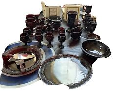 Avon Cape Cod Ruby Red Four 4 Piece Dinner Set Service Dishes 55 Pieces