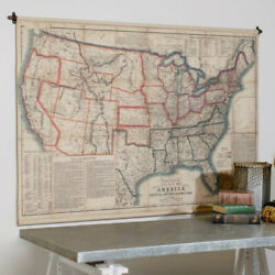 Large Map 65 X 45 Baconand039s Steel Plate Map America Political Historical Military