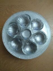 Lot Of Six 6 Clear Glass Hobnail Oyster Plates 9 1/2 Dia. Fenton