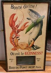 Large Vintage Painted Wood French Sign Bonte Divine With Chalkboard Insert