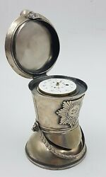 Silver And039soldier Helmet Shapeand039 Spindle Clock - Jande Mason Worcester