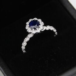 18ct White Gold Diamond And Sapphire Ornate Floral Halo Ring - Round 0.86ct - M1/2