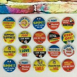 1960's Topps 2 Ugly Metal Buttons Pinback Lot Of 20 Vintage Rare Collectibles