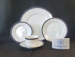Raynaud Diplomat Blue Dinner Salad Bread And Butter Cup And Saucer