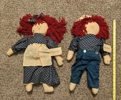 Vintage Primitive Folk Art Raggedy Anna And Andy Doll Handmade Mt Juliet Tennessee