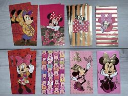 Chinese New Year Red Foil Envelopes 12 Pc Disney Mickey Minnie Mouse Lunar Money