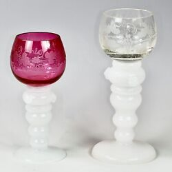 Antique Pare Of 19thc Blown Clear And Cranberry Etched Glass Wine Goblets