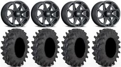 Itp Twister 14 Wheels Milled 30 Outback Max Tires Yamaha Grizzly Rhino