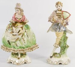 Japanese Dresden Style Porcelain Figurines Two Figures