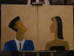 The Couple. By R.t. Kologiski. Oil On Canvas. 2 16x20 Paintings.