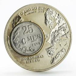 Sao Tome And Principe 2000 Dobras Year Of The Euro 25 Centimes Bimetal Coin 1999